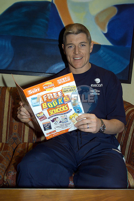 Graham kavanagh from Stoke City & Ireland with the Free Books for Schools posters..Pic Fran Caffrey Newsfile.©Newsfile Ltd...Camera:   DCS620X.Serial #: K620X-00546.Width:    1152.Height:   1728.Date:  26/2/01.Time:   14:24:05.DCS6XX Image.FW Ver:   3.2.1.TIFF Image.Look:   Product.Sharpening Requested: Yes.Tagged.Counter:    [4677].Shutter:  1/40.Aperture:  f8.0.ISO Speed:  400.Max Aperture:  f2.8.Min Aperture:  f22.Focal Length:  24.Exposure Mode:  Manual (M).Meter Mode:  Center Weighted.Drive Mode:  Continuous High (CH).Focus Mode:  Single (AF-S).Focus Point:  Center.Flash Mode:  Normal Sync.Compensation:  +0.0.Flash Compensation:  +0.0.Self Timer Time:  10s.White balance: Auto.Time: 14:24:05.637.