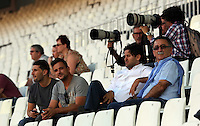 Valencia, Spain. Wednesday 18 September 2013<br /> Pictured: The father of Pablo Hernandez (R) watches the training session with friends and relatives.<br /> Re: Swansea City FC training ahead of their UEFA Europa League game against Valencia C.F. at the Estadio Mestalla, Spain,