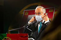 LISBON, PORTUGAL - DECEMBER 7: Portugal president Marcelo Rebelo de Sousa is seen wearing a protective face mask before a press conference in Lisbon, on December 7, 2020. Marcelo Rebelo de Sousa President of Portugal, in a message to the country made from a pastry shop in Belém, the Portugal President confirmed that he will be a candidate for the Presidency of the Republic on the upcoming presidential elections next year.<br /> (Photo by Luis Boza/VIEWpress via Getty Images)