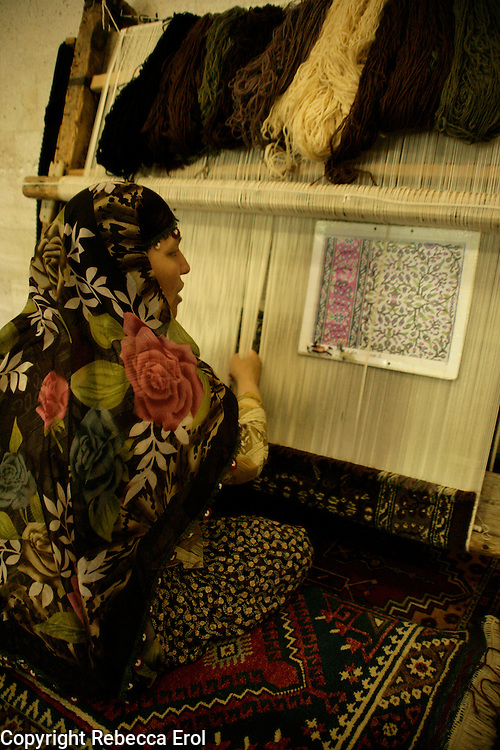 Weaving a woollen carpet, Cappadocia, Turkey