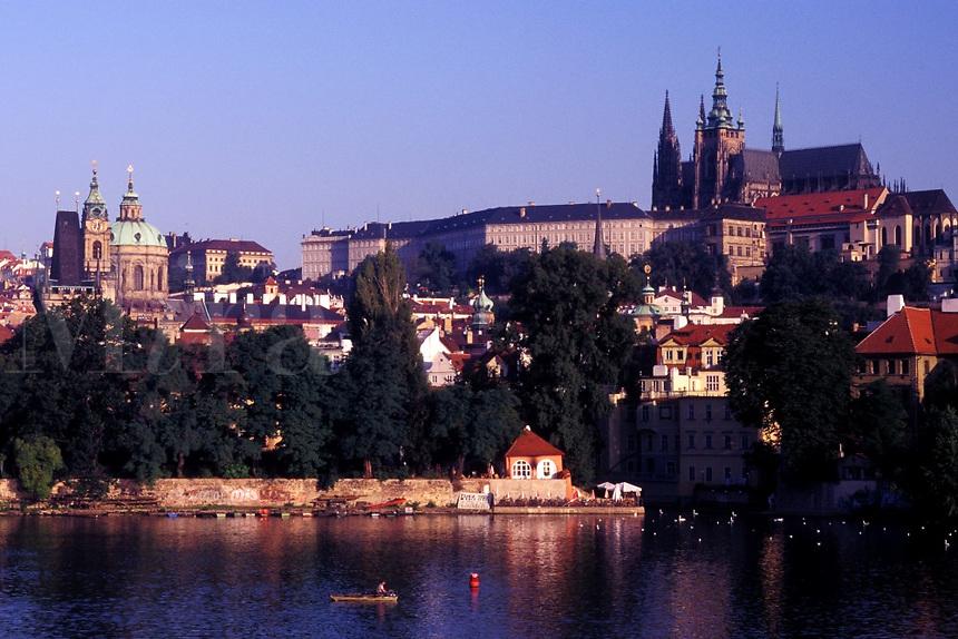 Prague, Vltava River, Czech Republic, Praha, Central Bohemia, Prague Castle along the Vltava River.