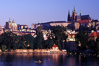 Prague, Vltava River, Czech Republic, Praha, Central Bohemia, Prague Castle along the Vltava River.