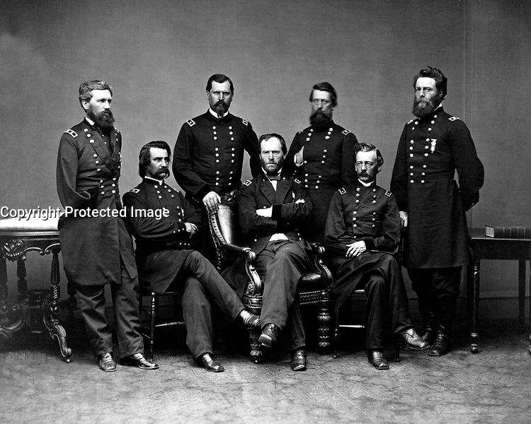 Maj. Gen. William T. Sherman, Commanding Military Division of the Mississippi, and his generals.  Ca. 1865.  Mathew Brady Collection.  (Army)<br /> Exact Date Shot Unknown