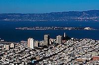aerial photograph of Telegraph Hill to Treasure Island, San Francisco