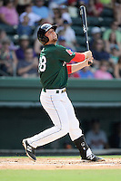First baseman Sam Travis (28) of the Greenville Drive bats in a game against the Rome Braves on Sunday, August 3, 2014, at Fluor Field at the West End in Greenville, South Carolina. Travis is a second-round pick of the Boston Red Sox in the 2014 First-Year Player Draft out of Indiana University. Rome won, 4-2. (Tom Priddy/Four Seam Images)