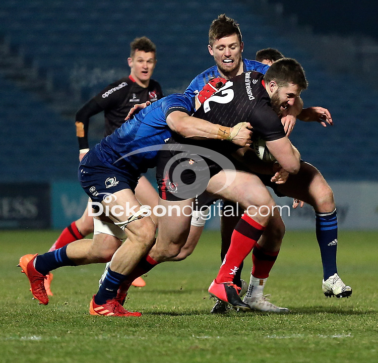 8th January 2021   Leinster vs Ulster <br /> <br /> Stuart McCloskey is tackled by Josh van der Flier during the PRO14 Round 11 clash between Leinster Rugby and Ulster Rugby at the RDS Arena, Ballsbridge, Dublin, Ireland. Photo by John Dickson/Dicksondigital
