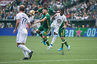 Portland, Oregon - Sunday September 22, 2019: Andres Flores #14 is accidently kicked in the head during a regular season game between Portland Timbers and Minnesota United at Providence Park on September 22, 2019 in Portland, Oregon.