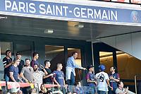 Paris Saint-Germain's Brazilian forward Neymar (2L), his father Neymar Santos (L), mother Nadine Santos (2R) and a close friend Jo Amancio (R) react as they attend the French L1 football match between Paris Saint-Germain (PSG) and Amiens (ASC) at the Parc de Princes Stadium in Paris on August 5, 2017 # LES PEOPLE AU MATCH DE FOOT PSG VS AMIENS