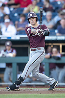 Mississippi State Bulldogs outfielder Elijah MacNamee (40) follows through on his swing during Game 10 of the NCAA College World Series against the Louisville Cardinals on June 20, 2019 at TD Ameritrade Park in Omaha, Nebraska. Louisville defeated Mississippi State 4-3. (Andrew Woolley/Four Seam Images)