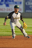 Andrew Velazquz #16 of the South Bend Silver Hawks takes his stance at shortstop against the Clinton LumberKings at Ashford University Field on July 26, 2014 in Clinton, Iowa. The Sliver Hawks won 2-0.   (Dennis Hubbard/Four Seam Images)