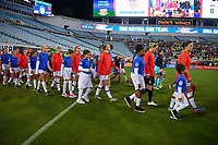 JACKSONVILLE, FL - NOVEMBER 10: Carli Loyd #10 of the United States leads her team with the walk out during a game between Costa Rica and USWNT at TIAA Bank Field on November 10, 2019 in Jacksonville, Florida.