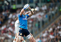 Rugby, Torneo delle Sei Nazioni: Italia vs Inghilterra. Roma, 14 febbraio 2016.<br /> Italy's Abraham Steyn catches the ball during the Six Nations rugby union international match between Italy and England at Rome's Olympic stadium, 14 February 2016.<br /> UPDATE IMAGES PRESS/Riccardo De Luca
