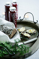 A Christmas breakfast tray of winter berry juice and fresh pear bread