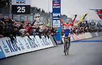 race winner Lars Van der Haar (NLD/Giant-Shimano)<br /> <br /> Zolder CX UCI World Cup 2014