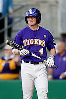 LSU Tigers outfielder Raph Rymes #4 against the Mississippi State Bulldogs during the NCAA baseball game on March 17, 2012 at Alex Box Stadium in Baton Rouge, Louisiana. The 10th-ranked LSU Tigers beat #21 Mississippi State, 4-3. (Andrew Woolley / Four Seam Images).