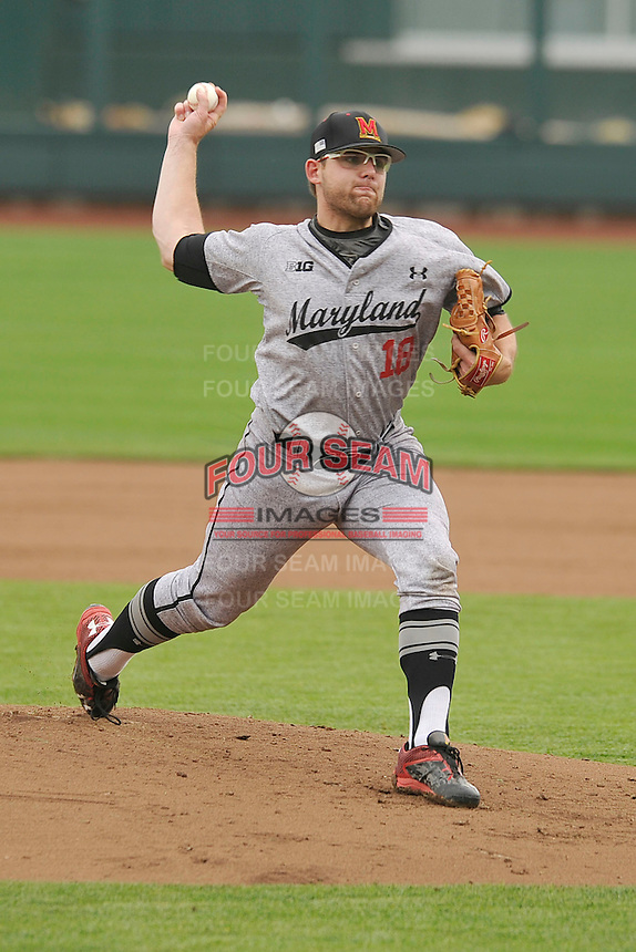 Maryland Terrapins Mike Shawaryn (18) throws during the Big Ten Tournament game against the Indiana Hoosiers at TD Ameritrade Park on May 25, 2016 in Omaha, Nebraska.  Maryland  won 5-3.  (Dennis Hubbard/Four Seam Images)