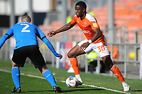 Blackpool's Bez Lubala under pressure from Swindon Town's Paul Caddis<br /> <br /> Photographer Kevin Barnes/CameraSport<br /> <br /> The EFL Sky Bet League One - Blackpool v Swindon Town - Saturday 19th September 2020 - Bloomfield Road - Blackpool<br /> <br /> World Copyright © 2020 CameraSport. All rights reserved. 43 Linden Ave. Countesthorpe. Leicester. England. LE8 5PG - Tel: +44 (0) 116 277 4147 - admin@camerasport.com - www.camerasport.com