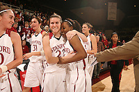 31 January 2008: Stanford Cardinal Jeanette Pohlen (23) congratulates Candice Wiggins (right) after breaking Stanford's all-time leading scoring record (Kate Starbird's mark of 2,215, set from 1993-1997) during Stanford's 77-51 win against the USC Trojans at Maples Pavilion in Stanford, CA. Wiggins finished the game with 18 points and 2,222 career points.