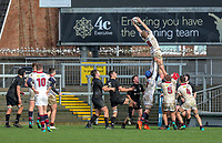 Tuesday 6th March 2019 | Ulster Schools Cup - Semi Final 1<br /> <br /> Aaron Woods takes this lineout ball during the Ulster Schools cup semi-final between Campbell College Belfast and the Royal School Armagh at Kingspan Stadium, Ravenhill Park, Belfast, Northern Ireland. Photo by John Dickson / DICKSONDIGITAL