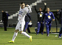 TUNJA -COLOMBIA, 24-09-2015. Jonathan Gomez de Deportivo Pasto celebra un gol anotado a Patriotas FC durante partido por la fecha 11 de la Liga Águila II 2015 realizado en el estadio La Independencia en Tunja./ Jonathan Gomez of Deportivo Pasto celebrates a goal scored to Patriotas FC during match for the date 11 of Aguila League II 2015 at La Independencia stadium in Tunja. Photo: VizzorImage/César Melgarejo/STR