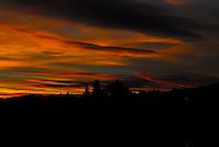 Dark, brooding sunset over the Kootani National Forest in Northwest Montana