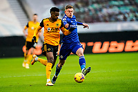 7th February 2021; Molineux Stadium, Wolverhampton, West Midlands, England; English Premier League Football, Wolverhampton Wanderers versus Leicester City; Harvey Barnes of Leicester City tackles Nélson Semedo of Wolverhampton Wanderers