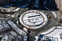 aerial photograph Frederick Douglas Circle, Manhattan, New York City in winter