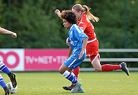 20160513 - LIEGE , BELGIUM : Gent's Kassandra Ndoutou Eboa Missipo pictured in a duel with Standard's Julie Biesmans (r) during a soccer match between the women teams of  Standard Femina De Liege and KAA Gent Ladies , during the fifth matchday in the SUPERLEAGUE Playoff 1 , Friday 13 May 2016 . PHOTO SPORTPIX.BE / DAVID CATRY