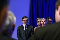 FRANCOIS FILLON, VALERIE PECRESSE, THIERRY MARIANI, RENCONTRE AVEC LES ULTRAMARINS A PARIS, FRANCE, LE 29/03/2017.