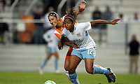 Sky Blue's Yael Averbuch (10) and Chicago's Chioma Igwe (12) battle for the ball in midfield.  Sky Blue defeated the Chicago Red Stars 1-0 in a mid-week game, Wednesday, June 17, at Yurcak Field.