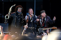 CHRISTCHURCH, NEW ZEALAND - FEBRUARY 21:  Jake Clemons (L) Bruce Springteen and  Steven Van Zandt perform during their Summer 17 Tour at AMI Stadium on February 21, 2017 in Christchurch, New Zealand.  (Photo by Dianne Manson/Getty Images)