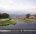 The Kamo River with cherry blossoms.<br /> <br /> La rivière Kamo avec des fleurs de cerisier.