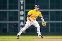 LSU Tigers shortstop Alex Bregman (8) on defense during the Houston College Classic against the Nebraska Cornhuskers on March 8, 2015 at Minute Maid Park in Houston, Texas. LSU defeated Nebraska 4-2. (Andrew Woolley/Four Seam Images)