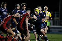 James Tyas of London Scottish attacks during the Greene King IPA Championship match between London Scottish Football Club and Hartpury RFC at Richmond Athletic Ground, Richmond, United Kingdom on 11 January 2019. Photo by Carlton Myrie / PRiME Media Images