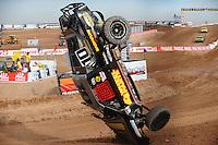 Dec. 10, 2010; Chandler, AZ, USA;  LOORRS pro two unlimited driver Greg Adler flips over during qualifying for round 15 at Firebird International Raceway. Mandatory Credit: Mark J. Rebilas-