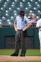 Umpire Ryan Benson during the second game of a doubleheader between the Bowie Baysox and Akron RubberDucks on June 5, 2016 at Prince George's Stadium in Bowie, Maryland.  Bowie defeated Akron 6-0.  (Mike Janes/Four Seam Images)
