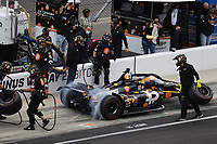 28th May 2021; Indianapolis, Indiana, USA;  NTT Indy Car Series car driver Rinus VeeKay (21) does a pit stop during Miller Lite Carb Day as teams prepare for the 105th running of the Indianapolis 500