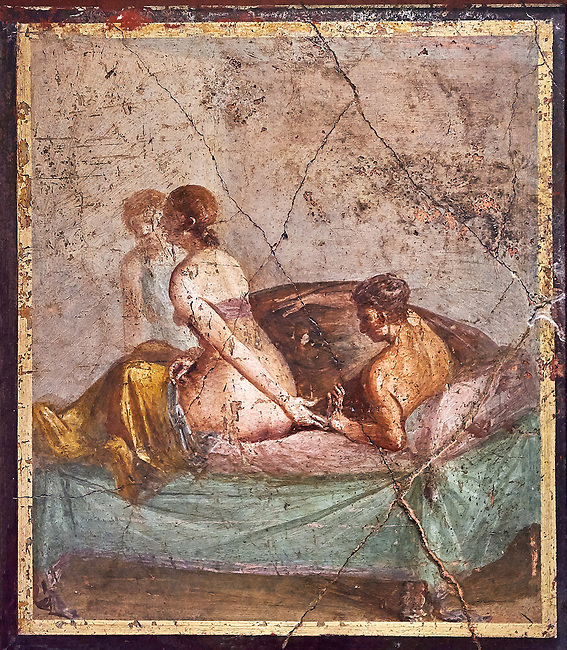 A Roman erotic fresco painting from Pompeii form the venereum, a room for sexual activities, of Casa di Cecilio Giocondo 50-79 AD  , inv no 10569 , Secret Museum or Secret Cabinet, Naples National Archaeological Museum