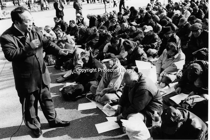 Former Yakuza, Japanese gangstars became Christian missionaries giving a service to homeless people at Ueno park, Tokyo, Japan