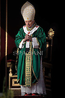 "Pope Benedict XVI during Holy Mass for the opening of the Synod of Bishops and proclamation of St John of Avila and St Hildegard of Bingen as ""Doctors of the Church  in St. Peter square at the Vatican, 7 October, 2012"