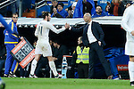 Real Madrid´s new coach Zinedine Zidane greets Gareth Bale during 2015/16 La Liga match between Real Madrid and Deportivo de la Coruna at Santiago Bernabeu stadium in Madrid, Spain. January 09, 2015. (ALTERPHOTOS/Victor Blanco)