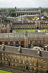 """Cambridge University UK Skyline. St Johns College foreground.  Trinity, ( with lawn centre)  Gonville and Caius College commonly referred to as Caius - pronounced as """"keys"""". Kings College."""