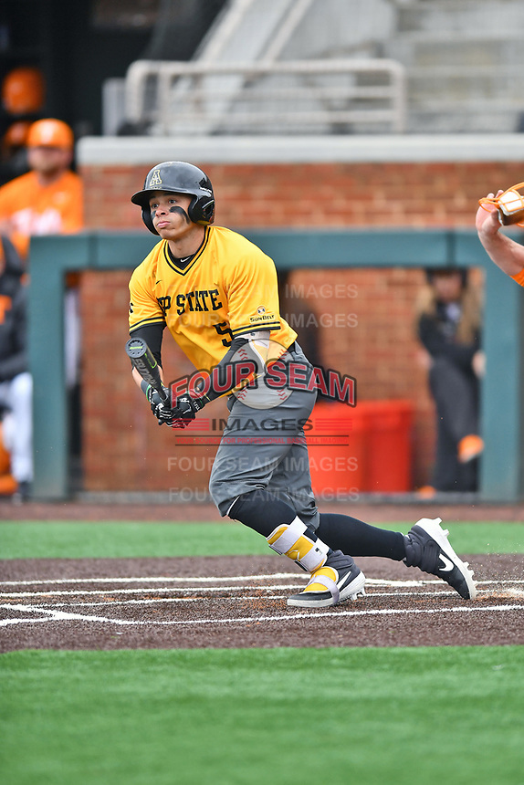 Appalachian State Mountaineers left fielder Kendall McGowan (5) swings at a pitch during a game against the Tennessee Volunteers at Lindsey Nelson Stadium on February 16, 2019 in Knoxville, Tennessee. The Volunteers defeated Mountaineers 2-0. (Tony Farlow/Four Seam Images)