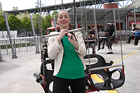 -Montreal (Qc) CANADA - May   2012 File Photo - <br /> actress Karine Vanasse unveil VOL ULTIME,  the the attraction at La Ronde amusement park on Ile Sainte-Helene