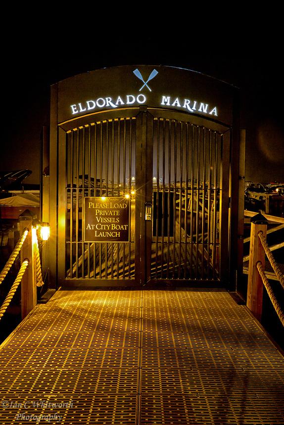 A night view of the gates to the marina at Hotel Eldorado on Okanagan Lake in Kelowna.