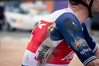 Jasper Stuyven (BEL/Trek-Segafredo) showing his scars post-finish<br /> <br /> 104th Ronde van Vlaanderen 2020 (1.UWT)<br /> 1 day race from Antwerpen to Oudenaarde (BEL/243km) <br /> <br /> ©kramon
