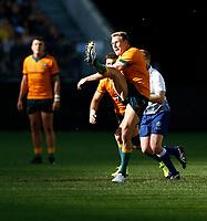 5th September 2021; Optus Stadium, Perth, Australia: Bledisloe Cup international rugby, Australia versus New Zealand; Reece Hodge of the Wallabies restarts play with a kick