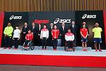 (L-R)  Lomano Lemeki, Yuki Tenma, Manabu Nishimae, Motoi Oyama, Seiko Hashimoto, Ryohei Kato, Tsuyoshi Aoki, Saori Yoshida, Mitsunori Torihara, Daisuke Ikezaki,  Hiroya Otsuki, Runa Imai, Masahiko Sakamaki, Atsushi Yamamoto (JPN), MAY 26, 2016 - : A press conference about presentation of Japan national team official sportswear for Rio de Janeiro Olympics 2016 in Tokyo, Japan. (Photo by Sho Tamura/AFLO SPORT)