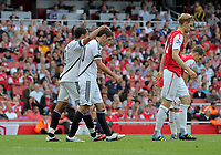Pictured: Ashley Williams and Danny Graham in action. Saturday 10 September 2011<br /> Re: Premiership Arsenal v Swansea City FC at the Emirates Stadium, London.