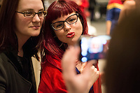 Captain Marvel writer Kelly Sue DeConnick, right, poses for a picture with fan Kelly Bowden of Seattle during the Carol Corps Celebration Thursday March 27, 2014 at the Museum of Flight in Seattle. Held the day before Emerald City Comicon kicked off, the event raised funds for Girls Leadership Institute and offered a chance for fans to meet and chat with Captain Marvel writer Kelly Sue DeConnick and Ms. Marvel writer G. Willow Wilson. Photo by Daniel Berman for WIRED.com